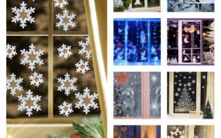 Идеи новогодних трафаретов для украшения окон. Украшение окон к Новому году из бумаги сосульками, варежками, звездочками, снежинками, часами, цифрами, елочными шарами, игрушками на ветках, колокольчиками: распечатать и вырезать шаблоны и трафареты для нак