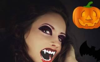 Стильный и пугающий макияж на хэллоуин для девушек. Как сделать макияж «Вампир» на Хэллоуин для девушек своими руками – пошаговый мастер-класс с фото. Легкий макияж на Хэллоуин
