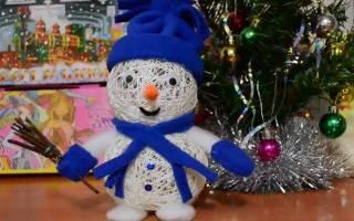 Снеговик из ниток своими руками пошаговое фото. Поделка снеговик из ниток и шаров своими руками