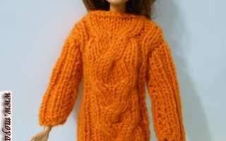 Вяжем платья для барби спицами. Вяжем одежду для куклы Барби спицами – юбка и пончо