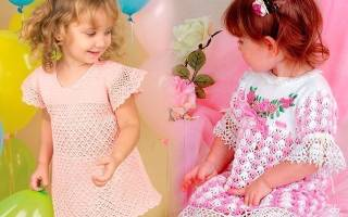 Вязанные платья на 3 года крючком спицами. Как связать платье на девочку крючком. Пошаговая инструкция, схема и описание, фото и видео уроки для начинающих