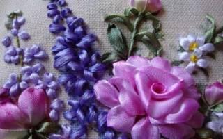 Как вышивать лентами цветы. Вышивка лентами для начинающих пошагово. Фото