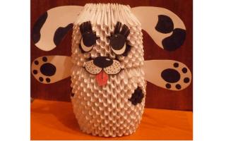 Собака черно белый модульное оригами. Модульное оригами Собака. Схема сборки. Пошаговая инструкция с фото