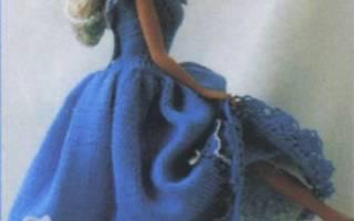 Вяжем одежду для куклы Барби спицами – юбка и пончо. Модное платье для Барби с юбкой плиссе — мастер-класс